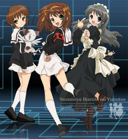 Yuki, Haruhi and Mikuru from Melancholy of Suzumiya Haruhi cosplaying as characters from Card Captor Sakura